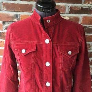 Gap Women's Corderoy Jacket Red S Mandarin Collar